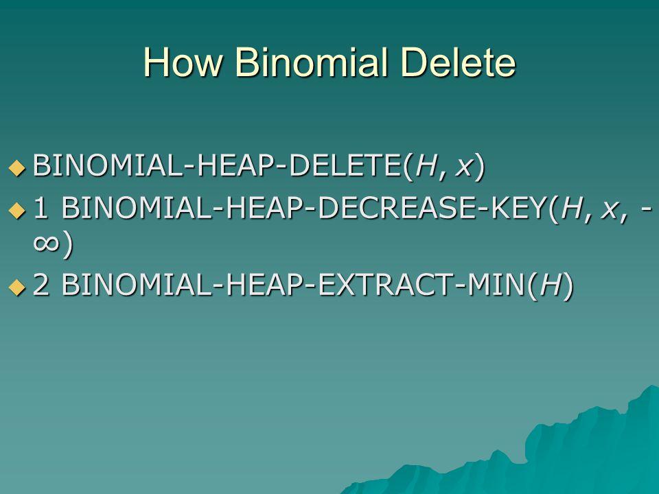 How Binomial Delete  BINOMIAL-HEAP-DELETE(H, x)  1 BINOMIAL-HEAP-DECREASE-KEY(H, x, - ∞)  2 BINOMIAL-HEAP-EXTRACT-MIN(H)