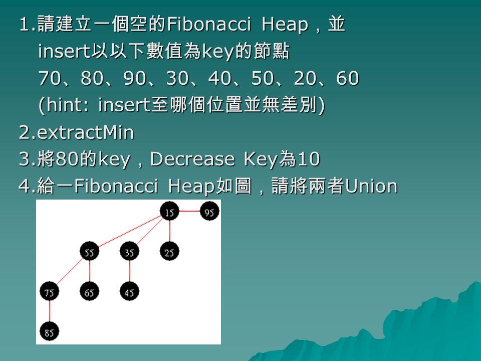 1. 請建立一個空的 Fibonacci Heap ,並 insert 以以下數值為 key 的節點 insert 以以下數值為 key 的節點 70 、 80 、 90 、 30 、 40 、 50 、 20 、 60 70 、 80 、 90 、 30 、 40 、 50 、 20 、 60 (