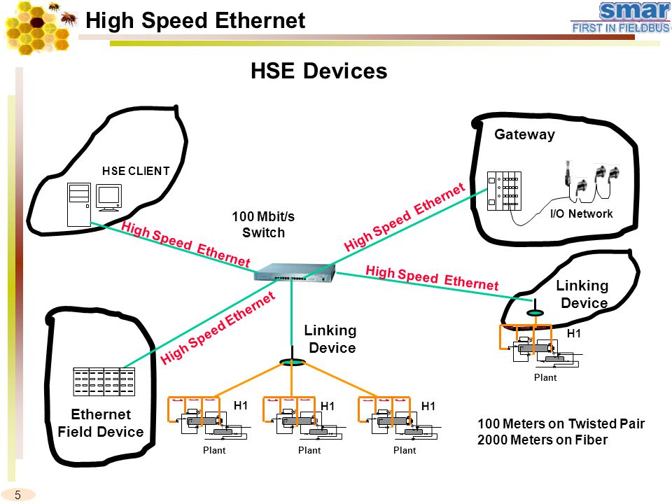 5 H1 P L Plant P L P L H1 P L Plant H1 100 Meters on Twisted Pair 2000 Meters on Fiber HSE CLIENT 100 Mbit/s Switch Linking Device Linking Device HSE Devices High Speed Ethernet Ethernet Field Device High Speed Ethernet Gateway I/O Network High Speed Ethernet