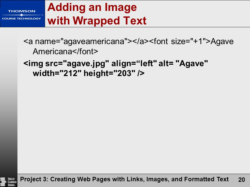 Project 3: Creating Web Pages with Links, Images, and Formatted Text 20 Agave Americana Adding an Image with Wrapped Text