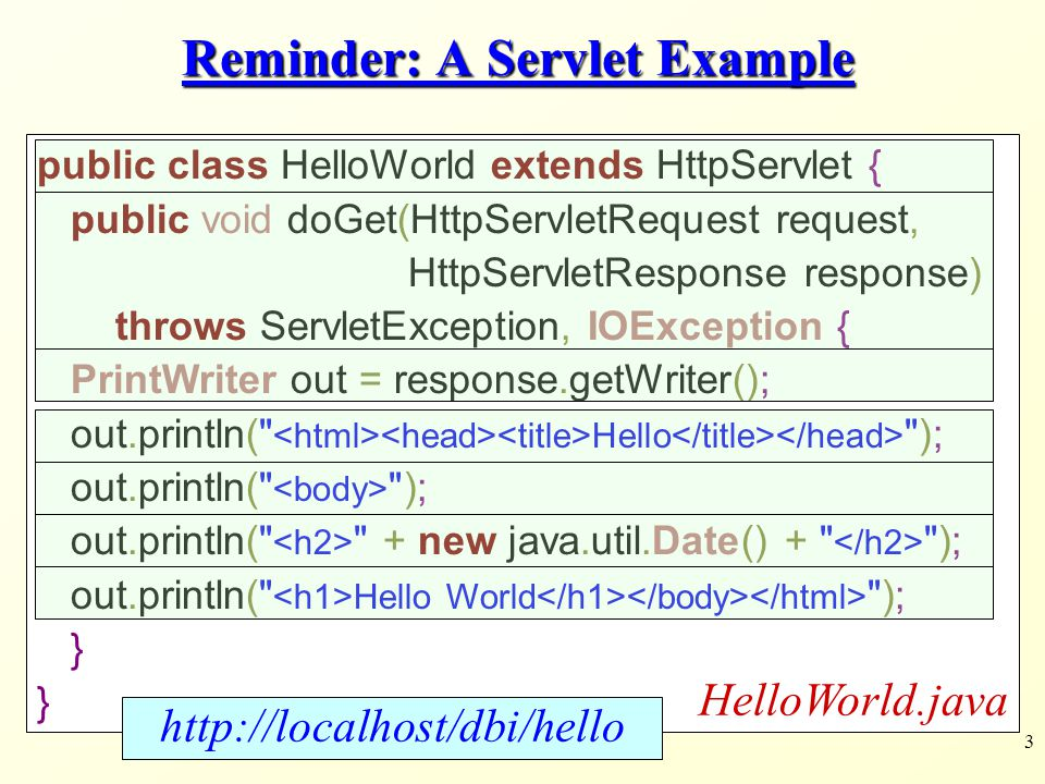 3 Reminder: A Servlet Example public class HelloWorld extends HttpServlet { public void doGet(HttpServletRequest request, HttpServletResponse response