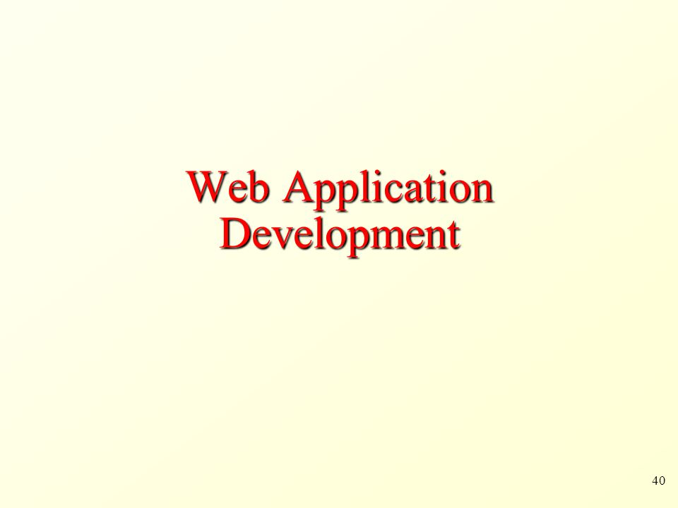 40 Web Application Development