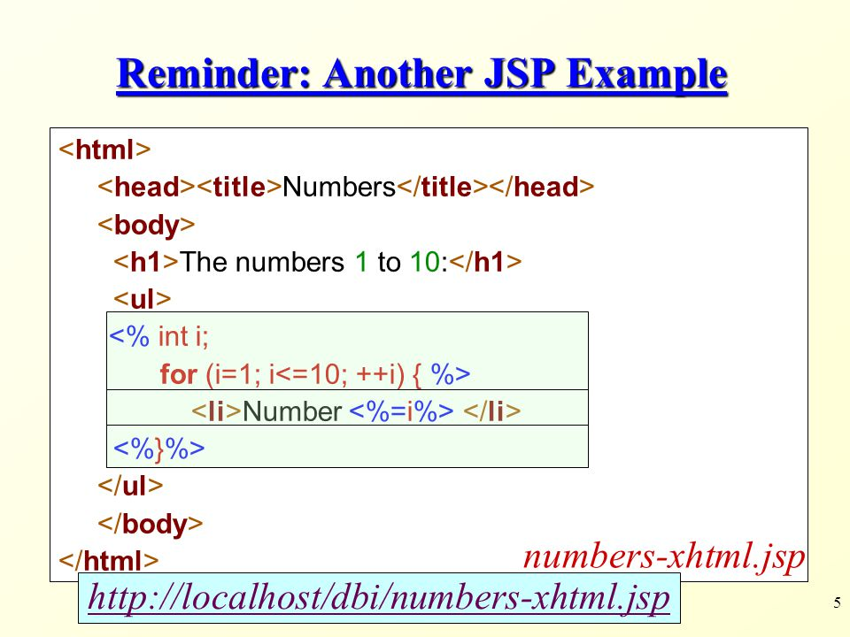 5 Reminder: Another JSP Example Numbers The numbers 1 to 10: <% int i; for (i=1; i Number numbers-xhtml.jsp http://localhost/dbi/numbers-xhtml.jsp