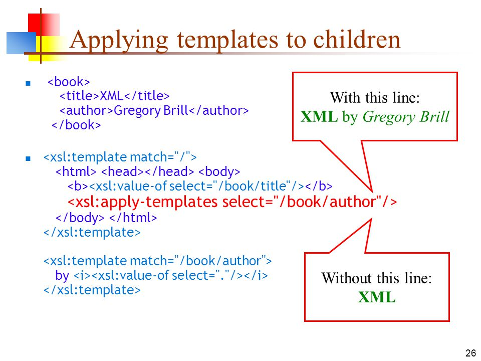 26 Applying templates to children XML Gregory Brill by With this line: XML by Gregory Brill Without this line: XML