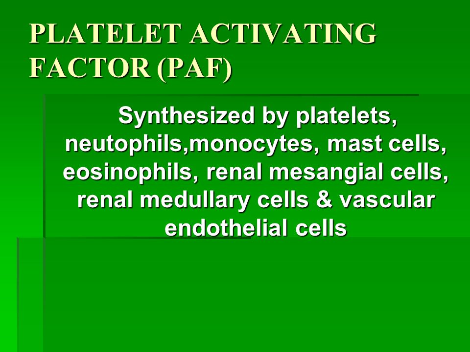 PLATELET ACTIVATING FACTOR (PAF) Synthesized by platelets, neutophils,monocytes, mast cells, eosinophils, renal mesangial cells, renal medullary cells & vascular endothelial cells Synthesized by platelets, neutophils,monocytes, mast cells, eosinophils, renal mesangial cells, renal medullary cells & vascular endothelial cells