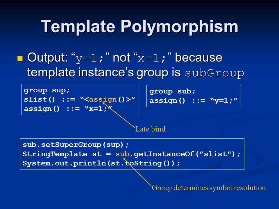 """Template Polymorphism Output: """" y=1; """" not """" x=1; """" because template instance's group is subGroup Output: """" y=1; """" not """" x=1; """" because template insta"""