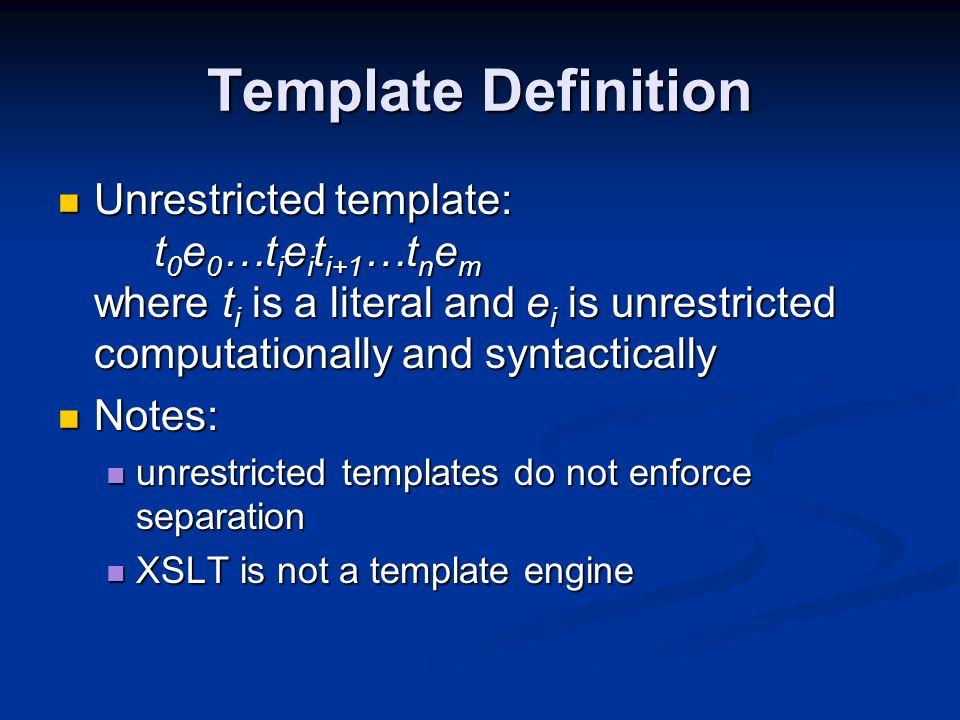 Dump XML Instead group XML; class(name,fields,methods) ::= << $name$ $fields:field()$ $methods:method()$ >> field() ::= << $type(t=it.type)$ $it.name$ >> … Dump int i …