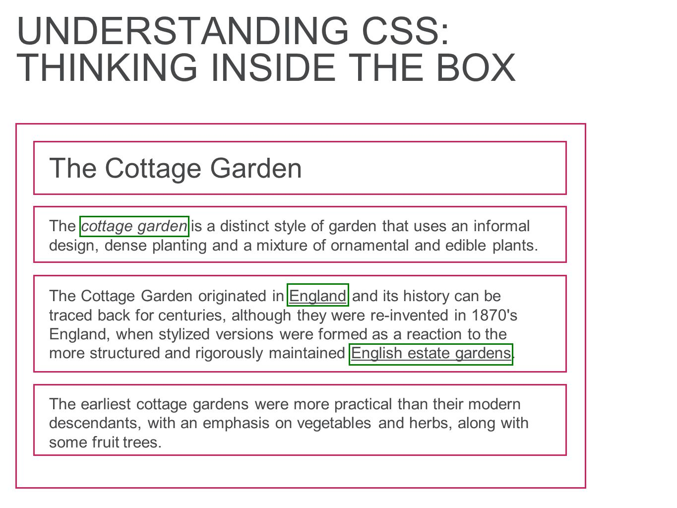 UNDERSTANDING CSS: THINKING INSIDE THE BOX The Cottage Garden The cottage garden is a distinct style of garden that uses an informal design, dense planting and a mixture of ornamental and edible plants.