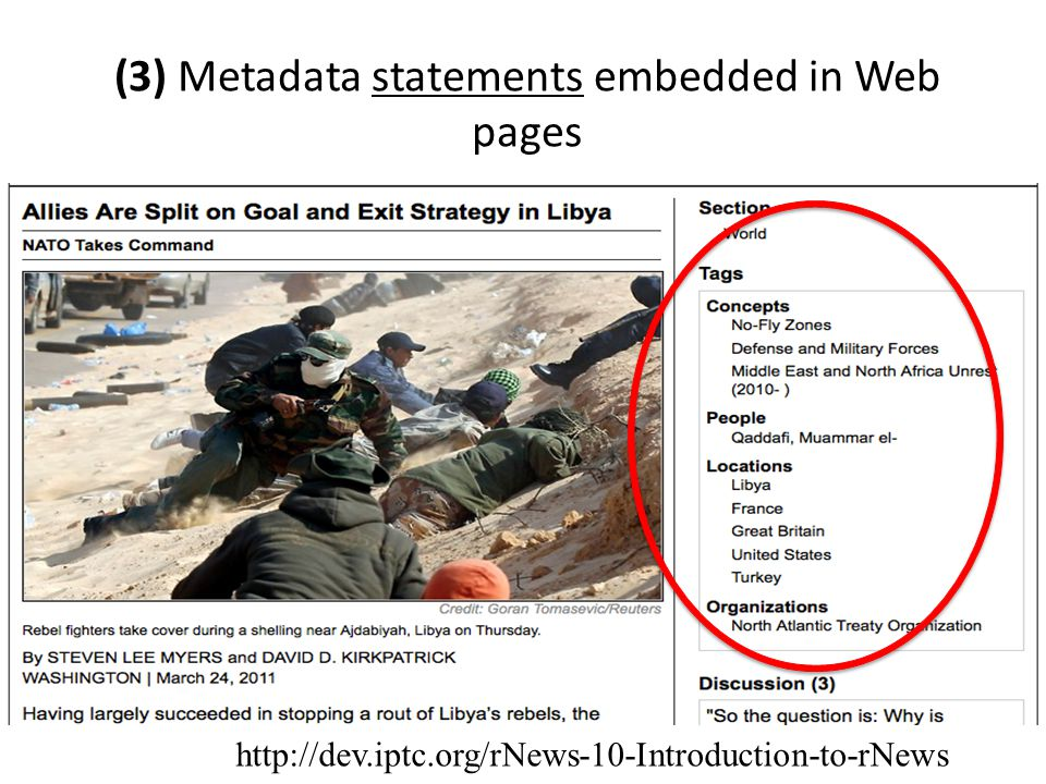 (3) Metadata statements embedded in Web pages http://dev.iptc.org/rNews-10-Introduction-to-rNews
