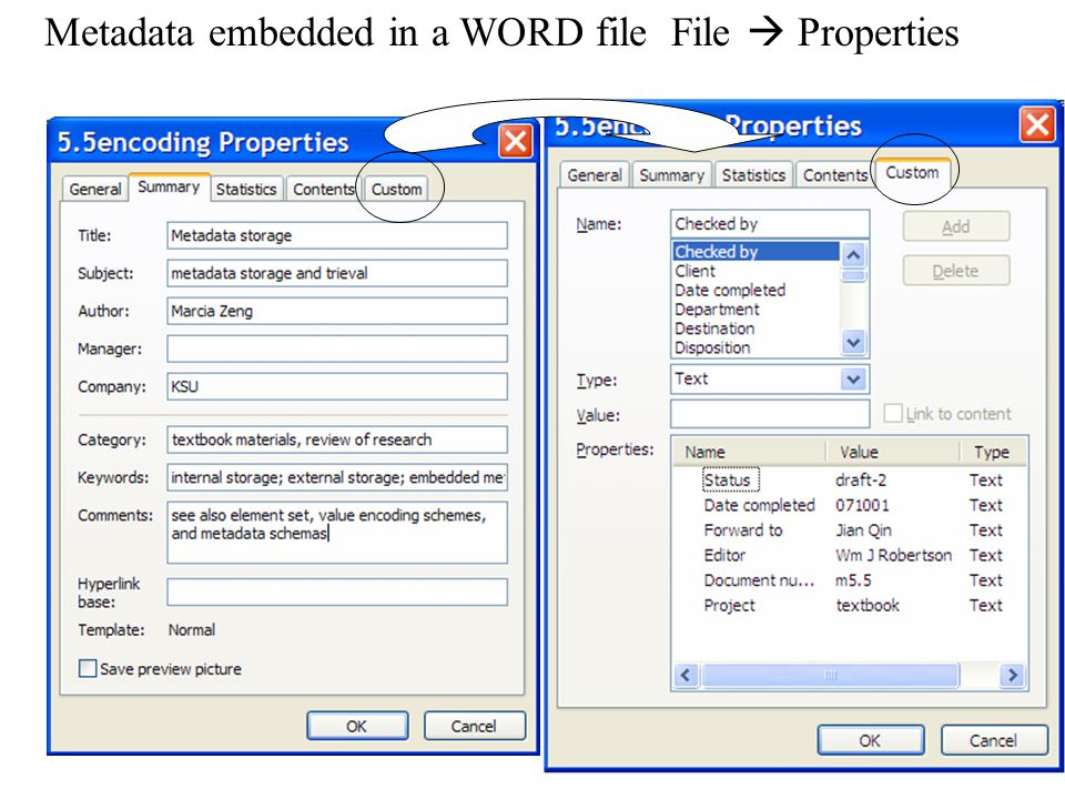 Metadata embedded in a WORD file File  Properties
