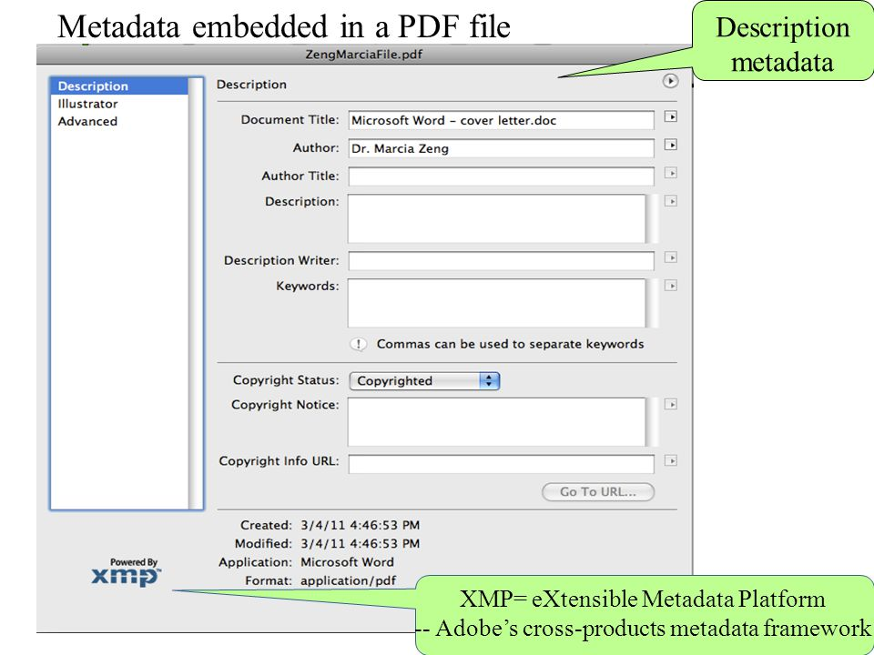 Metadata embedded in a PDF file Description metadata XMP= eXtensible Metadata Platform -- Adobe's cross-products metadata framework