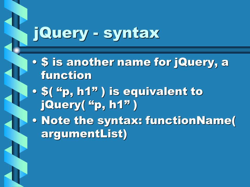 jQuery – css class We can add or remove a css class to a list of elementsWe can add or remove a css class to a list of elements // add class blue to all paragraphs// add class blue to all paragraphs $( p ).addClass( blue );$( p ).addClass( blue ); // add classes blue and red to all paragraphs// add classes blue and red to all paragraphs $( p ).addClass( blue red );$( p ).addClass( blue red );