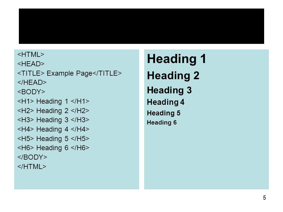 5 Example Page Heading 1 Heading 2 Heading 3 Heading 4 Heading 5 Heading 6 Heading 1 Heading 2 Heading 3 Heading 4 Heading 5 Heading 6