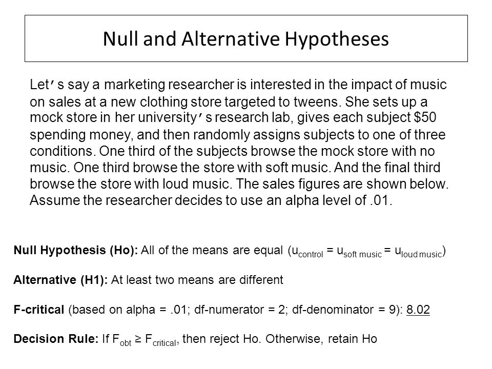 Null and Alternative Hypotheses Let ' s say a marketing researcher is interested in the impact of music on sales at a new clothing store targeted to t