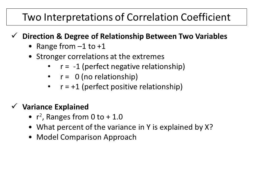 Two Interpretations of Correlation Coefficient Direction & Degree of Relationship Between Two Variables Range from –1 to +1 Stronger correlations at t
