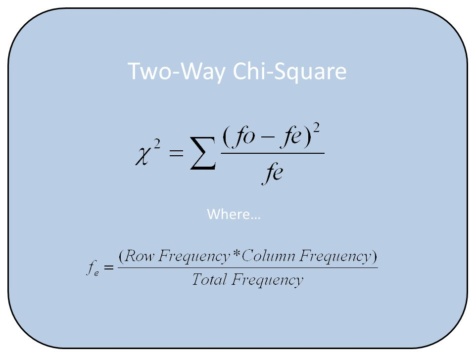 Two-Way Chi-Square Where…