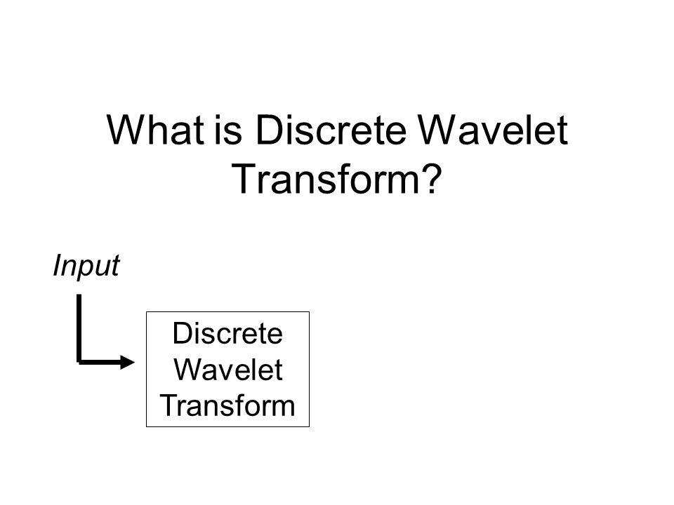 What is Discrete Wavelet Transform Discrete Wavelet Transform Input