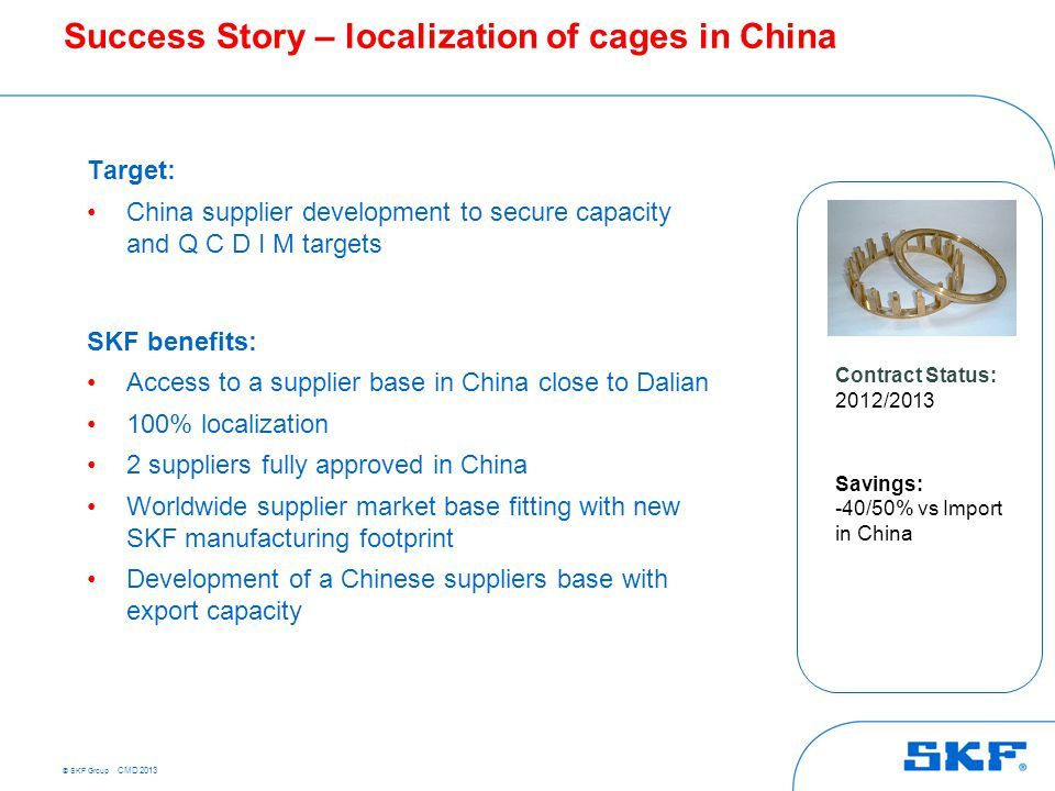 © SKF Group CMD 2013 Target: China supplier development to secure capacity and Q C D I M targets SKF benefits: Access to a supplier base in China clos