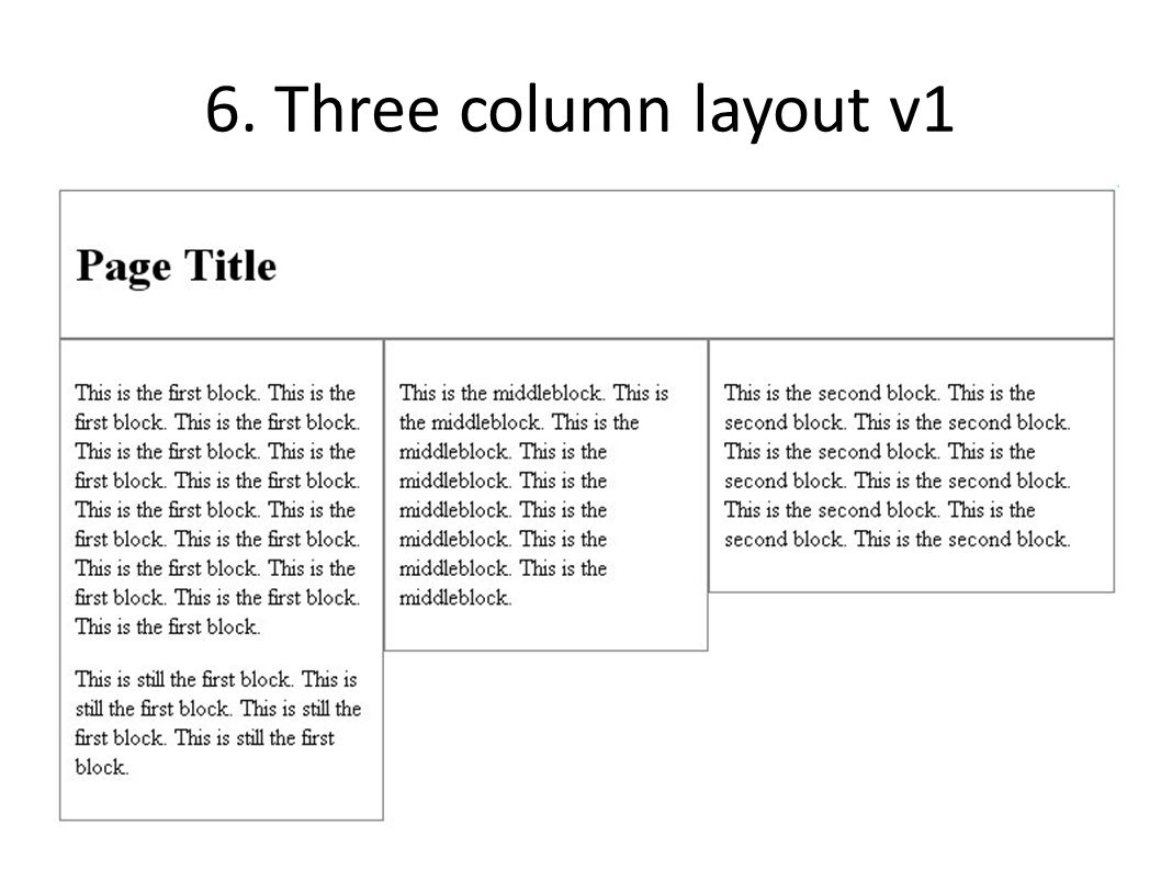 6. Three column layout v1
