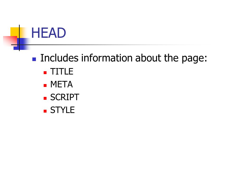 TITLE Included inside HEAD element Browsers use title's content in the top bar The title should be describing the contents of the page, e.g.