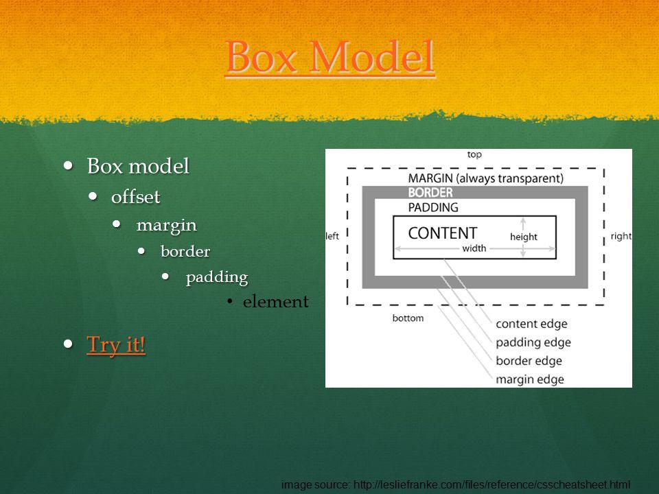 Box Model Box Model Box model Box model offset offset margin margin border border padding padding element Try it.