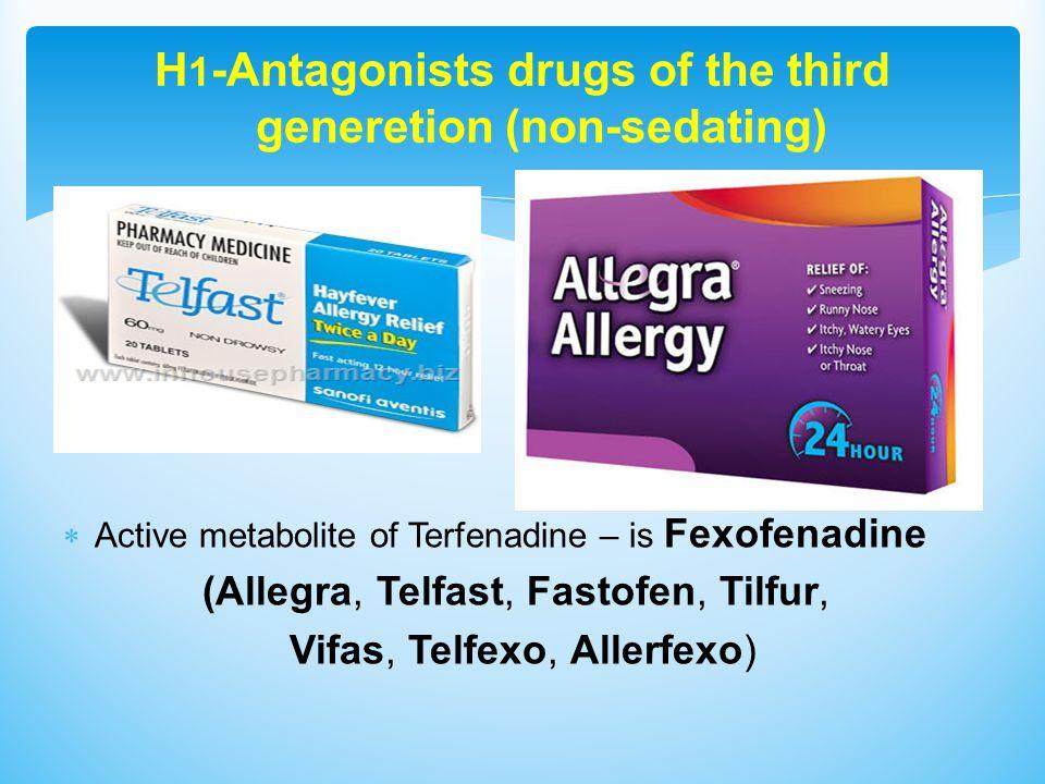 H 1 -Antagonists drugs of the third generetion (non-sedating)  Active metabolite of Terfenadine – is Fexofenadine (Allegra, Telfast, Fastofen, Tilfur, Vifas, Telfexo, Allerfexo)