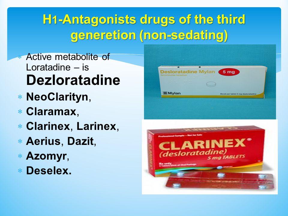 H 1 -Antagonists drugs of the third generetion (non-sedating)  Active metabolite of Loratadine – is Dezloratadine  NeoClarityn,  Claramax,  Clarinex, Larinex,  Aerius, Dazit,  Azomyr,  Deselex.