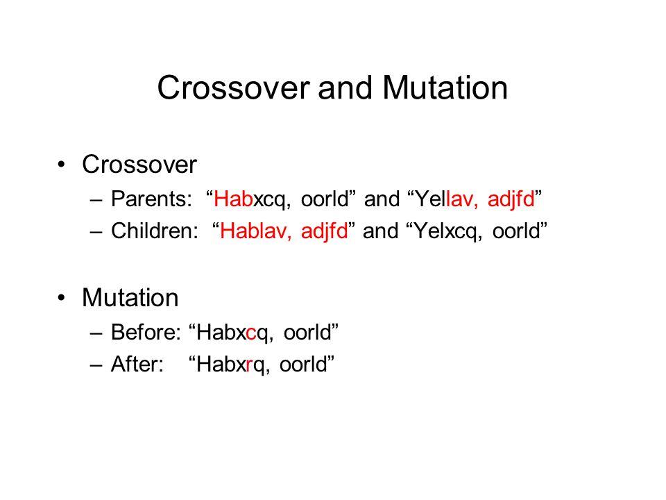 Crossover and Mutation Crossover –Parents: Habxcq, oorld and Yellav, adjfd –Children: Hablav, adjfd and Yelxcq, oorld Mutation –Before: Habxcq, oorld –After: Habxrq, oorld