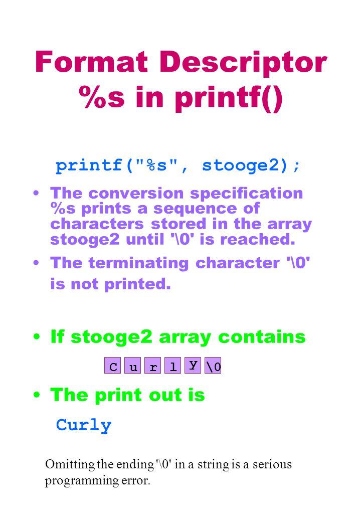 Format Descriptor %s in printf() printf(