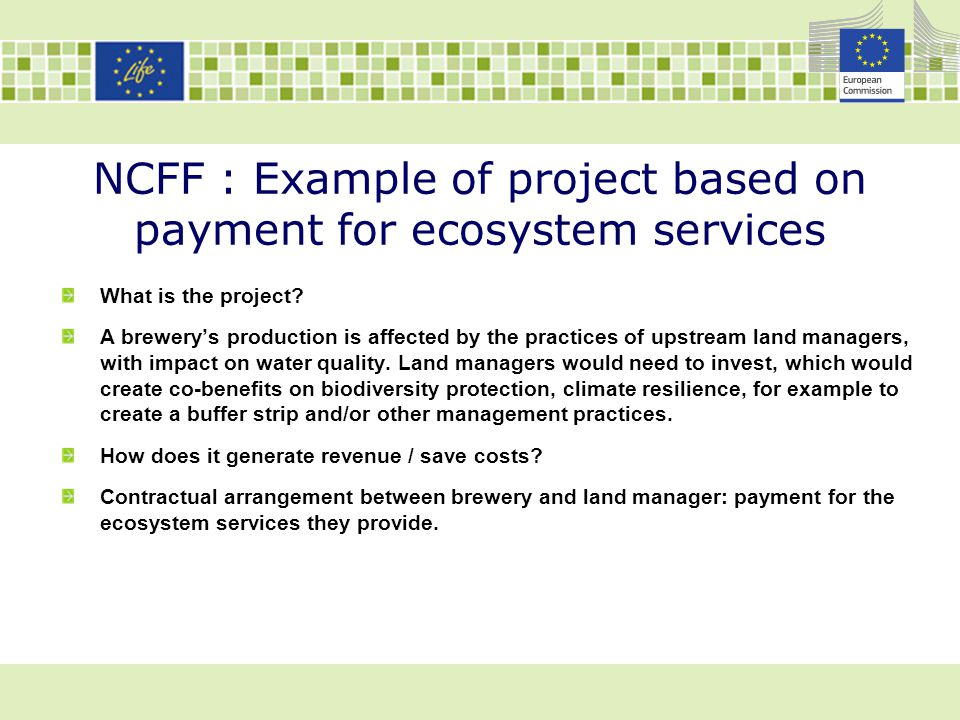 NCFF : Example of project based on payment for ecosystem services What is the project? A brewery's production is affected by the practices of upstream