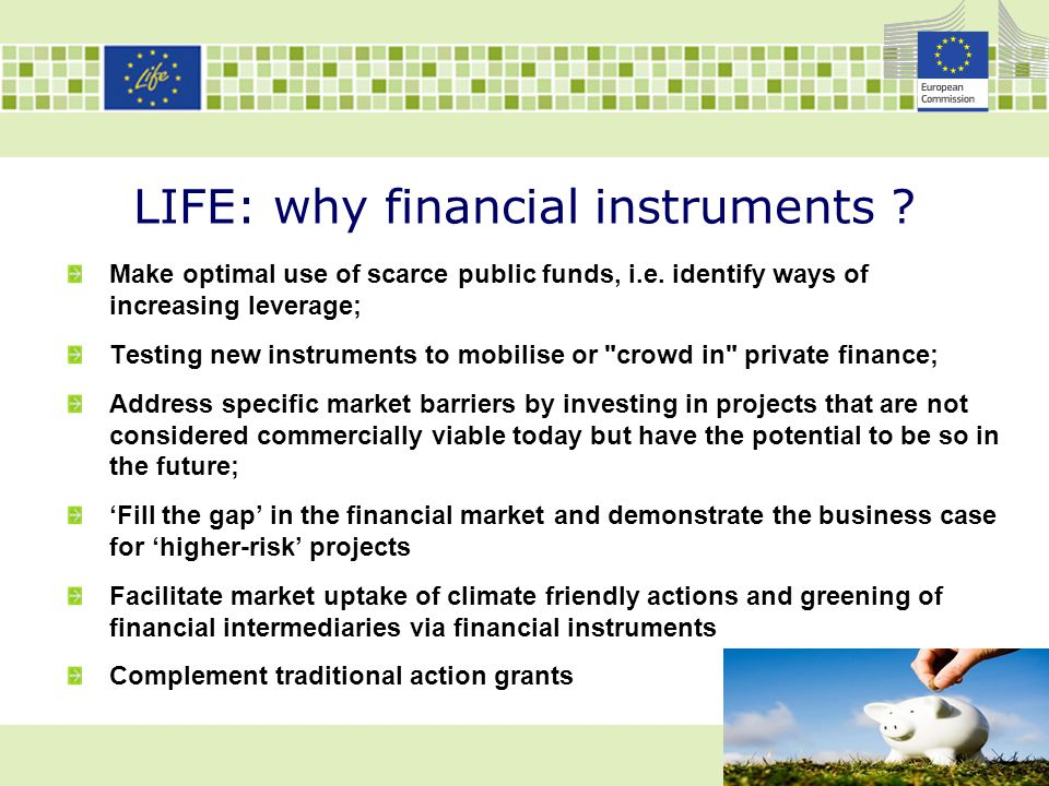 LIFE: why financial instruments ? Make optimal use of scarce public funds, i.e. identify ways of increasing leverage; Testing new instruments to mobil