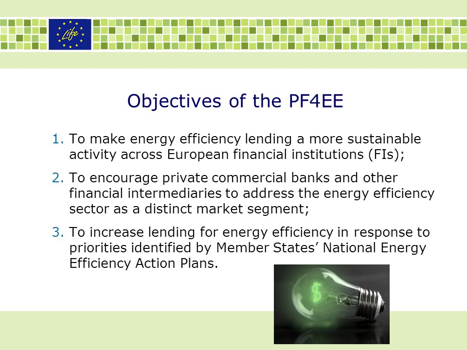 Objectives of the PF4EE 1.To make energy efficiency lending a more sustainable activity across European financial institutions (FIs); 2.To encourage p