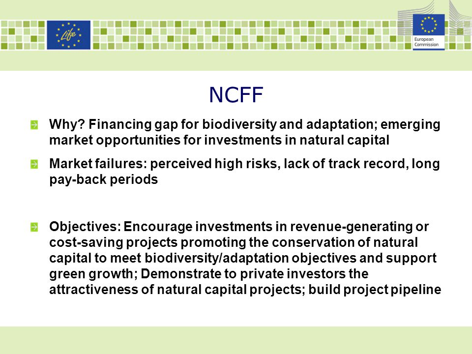 NCFF - Approach Investment facility (debt and equity, direct and indirect) + Support facility (building pipeline, project development) 2 stages approach: i/Pilot phase (2014-2017) for testing approaches; ii/ Operational/roll out phase (2017-2020) Participants: European Commission; EIB (matching amounts for investments; manager of facility); Other investors (only in operational phase) Challenges: testing the various financial mechanisms and project categories; ensuring a broad geographical reach in the EU.