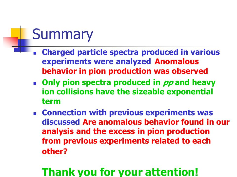 Summary Charged particle spectra produced in various experiments were analyzed Anomalous behavior in pion production was observed Only pion spectra produced in pp and heavy ion collisions have the sizeable exponential term Connection with previous experiments was discussed Are anomalous behavior found in our analysis and the excess in pion production from previous experiments related to each other.