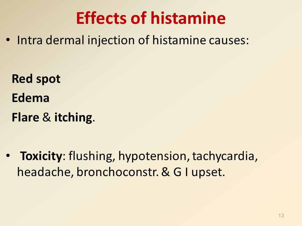 Effects of histamine Intra dermal injection of histamine causes: Red spot Edema Flare & itching. Toxicity: flushing, hypotension, tachycardia, headach