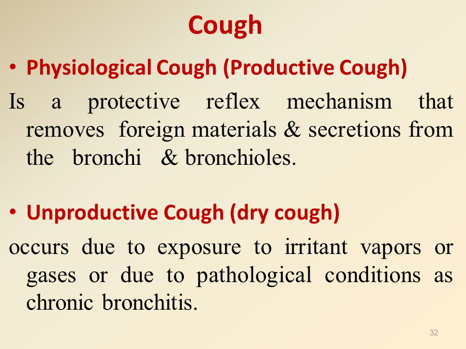 Cough Physiological Cough (Productive Cough) Is a protective reflex mechanism that removes foreign materials & secretions from the bronchi & bronchiol