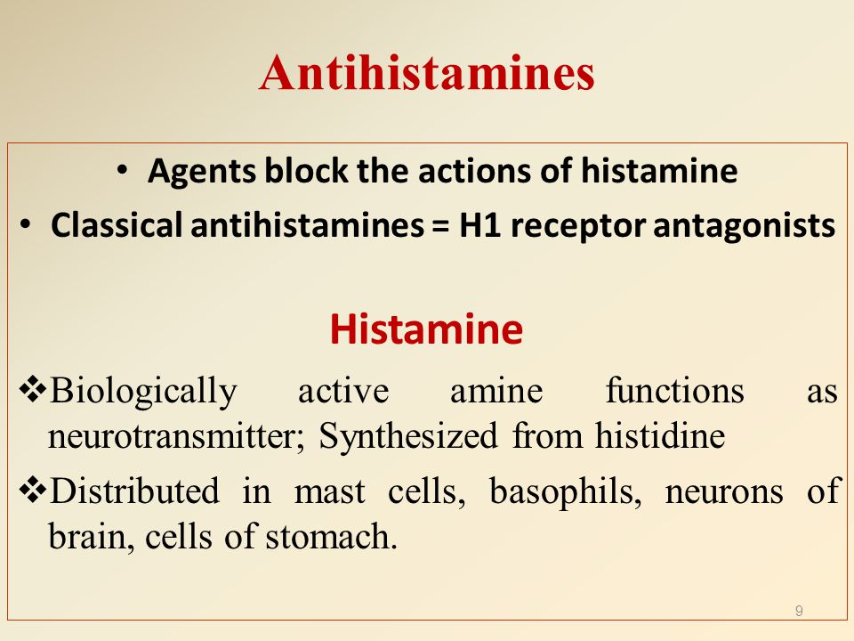 The different Histamine receptors LocationType of receptor EffectTreatment H1 Throughout the body, specifically in smooth muscles, vascular endothelial cells, heart & CNS G-protein coupled, linked to intercellular Gq, which activates phospholipase C Mediate an increase in vascular permeability at sites of inflammation induced by histamine Allergies, nausea, sleep disorders H2 Mainly in gastric parietal cells, low level can be found in vascular smooth muscle, mast cells, neutrophils, CNS, heart, & uterus G-protein coupled, linked to intercellular Gs Increases the release of gastric acid Stomach ulcers H3 Found mostly presynaptically in the CNS, with a high level in the thalamus, caudate nucleus & cortex, also a low level in small intestine, testis & prostate.