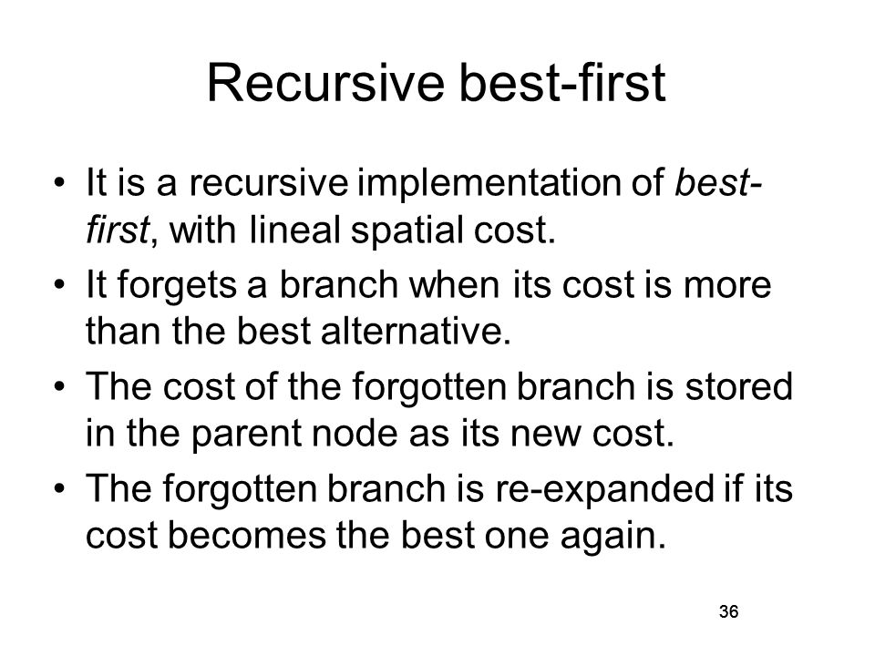 36 Recursive best-first It is a recursive implementation of best- first, with lineal spatial cost. It forgets a branch when its cost is more than the