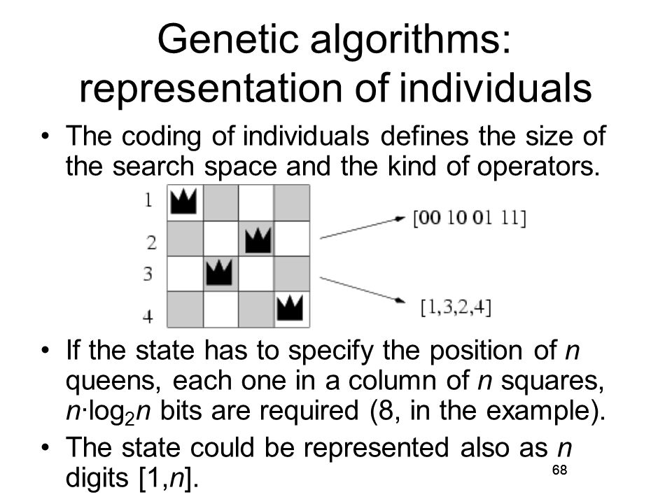 Genetic algorithms: representation of individuals The coding of individuals defines the size of the search space and the kind of operators.