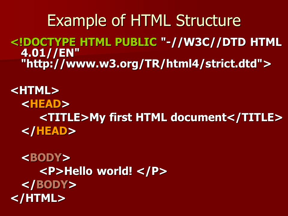 Example of HTML Structure <HTML> My first HTML document My first HTML document Hello world! Hello world! </HTML>