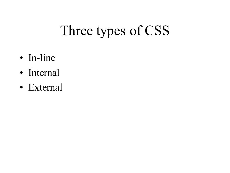 Three types of CSS In-line Internal External