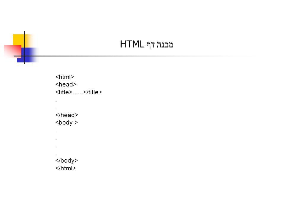 מבנה דף HTML............