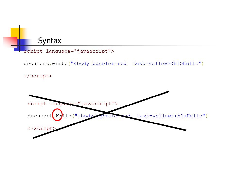 Syntax script language= javascript > document.write( Hello ) script language= javascript > document.Write( Hello )