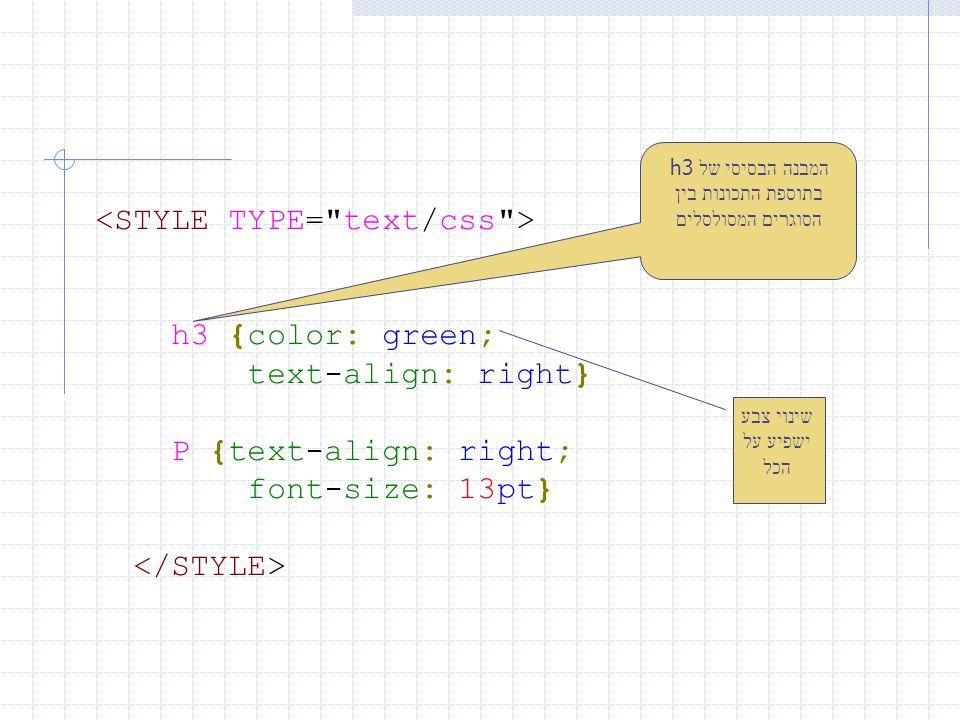 h3 {color: green; text-align: right} P {text-align: right; font-size: 13pt} המבנה הבסיסי של h3 בתוספת התכונות בין הסוגרים המסולסלים שינוי צבע ישפיע על הכל