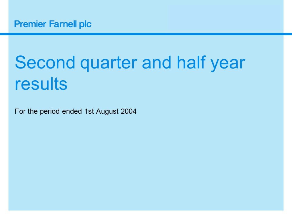 Summarised cash flows Second quarter and first half to 1st August 2004 £m 2004/5 Q2 Q1 H1 Operating profit18.7 19.037.7 Amortisation of goodwill 0.7 0.7 1.4 Net pension credit (1.1) (1.2) (2.3) Depreciation and other non-cash items 5.1 5.3 10.4 Working capital (9.4)(12.3)(21.7) Operating cash flow14.0 11.5 25.5 Net capital expenditure (3.0) (3.8) (6.8) Interest & preference dividend (9.9) (0.1)(10.0) Tax(4.6) (2.2) (6.8) Free cash flow(3.5) 5.4 1.9