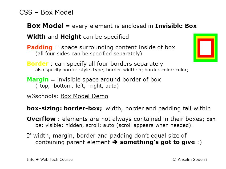 © Anselm SpoerriInfo + Web Tech Course CSS – Box Model Box Model = every element is enclosed in Invisible Box Width and Height can be specified Paddin