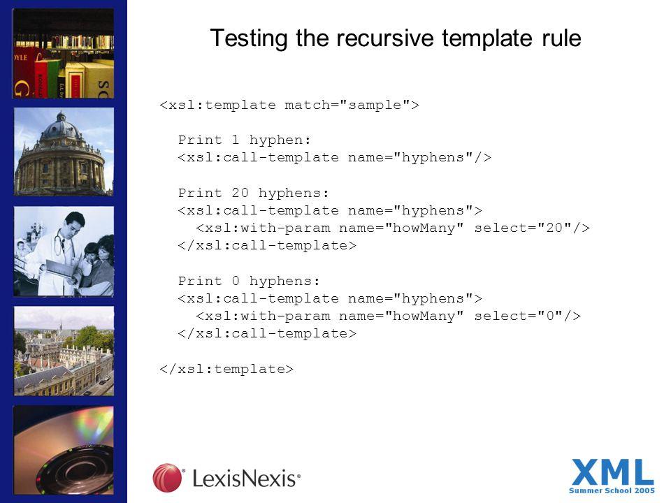 Testing the recursive template rule Print 1 hyphen: Print 20 hyphens: Print 0 hyphens: