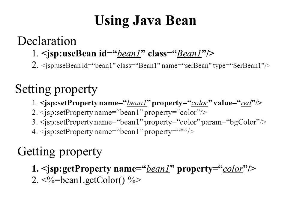 Using Java Bean 1. 2. Declaration Getting property 1. 2. Setting property 1. 2. 3. 4.