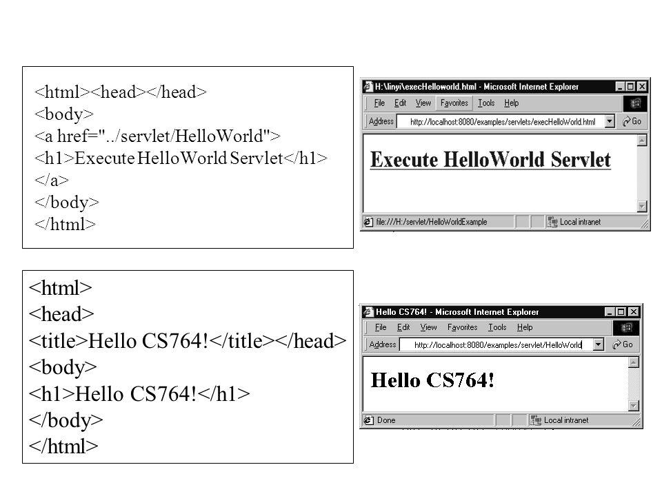 Execute HelloWorld Servlet Hello CS764! Hello CS764!