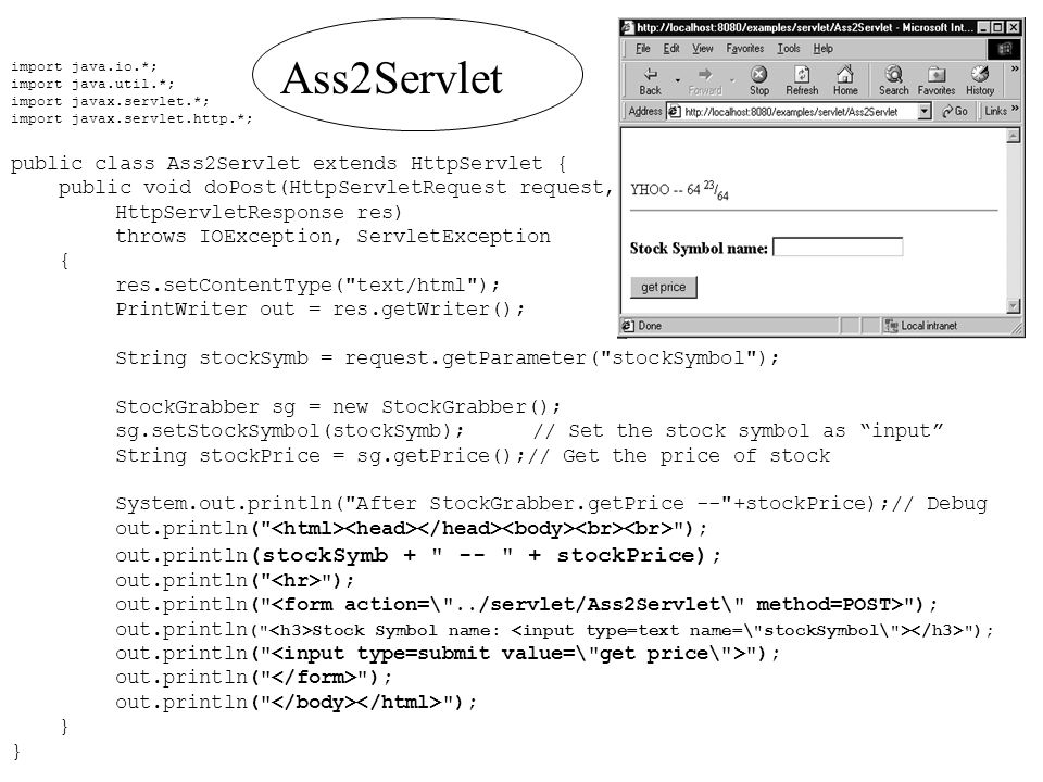 import java.io.*; import java.util.*; import javax.servlet.*; import javax.servlet.http.*; public class Ass2Servlet extends HttpServlet { public void